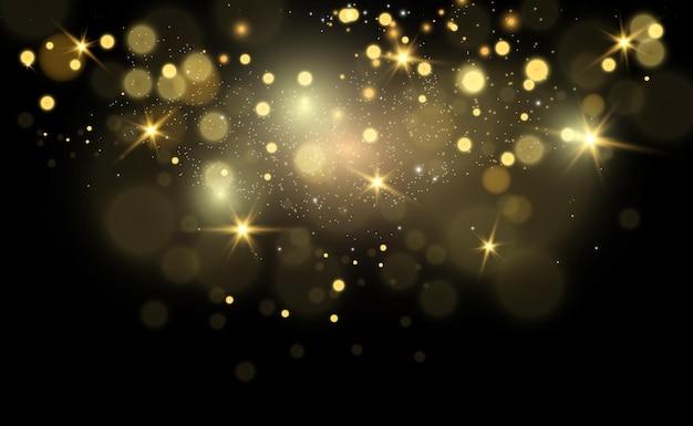 Les étincelles brillent avec une lumière spéciale. brille sur un fond transparent.