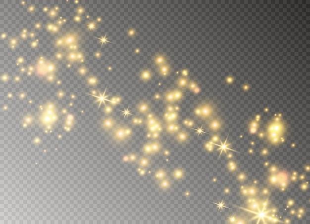 Les étincelles et les étoiles brillent d'un effet de lumière spécial.