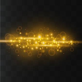 Des étincelles et des étoiles dorées brillent avec un effet de lumière spécial