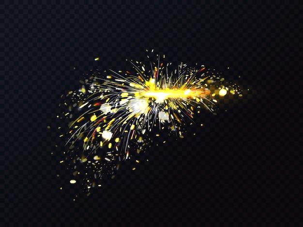 Les étincelles d'incendie provoquées par la soudure ou la coupe des métaux éclairent.