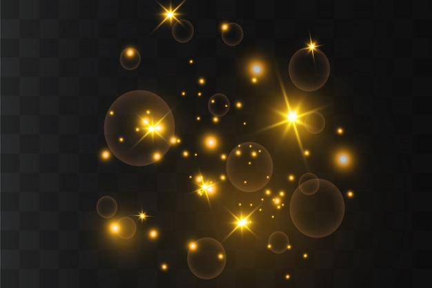 Des étincelles jaunes et des étoiles dorées brillent avec un effet de lumière spécial. particules étincelantes de poussière de fée. brille sur un fond transparent.