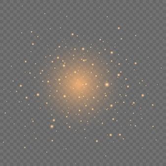 Les étincelles jaunes scintillent effet de lumière spécial sur transparent