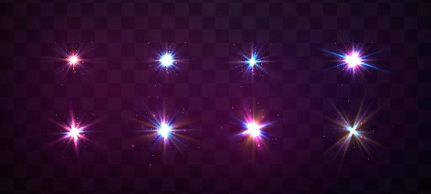 Étincelles, lumière parasite, explosion, paillettes, ligne, flash solaire, étincelle, étoiles. lumière rougeoyante violette