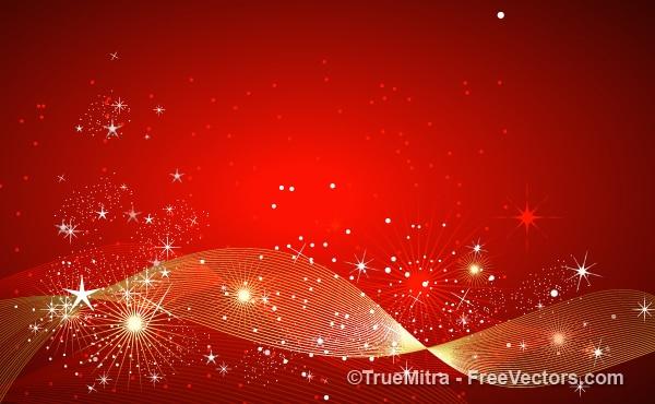 Étincelles d'or et des étoiles sur fond rouge