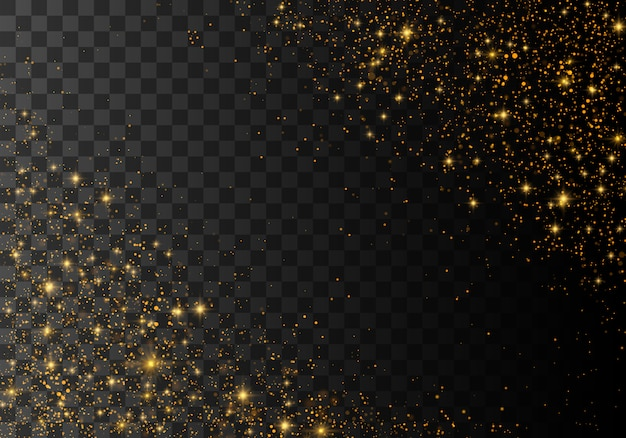 Étincelles de poussière et étoiles dorées brillantes
