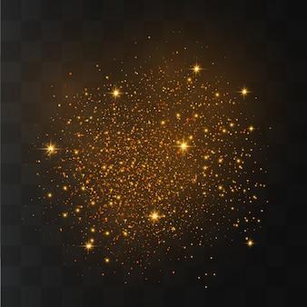 Les étincelles de poussière et les étoiles dorées brillent d'une lumière spéciale. des particules de poussière magiques étincelantes.