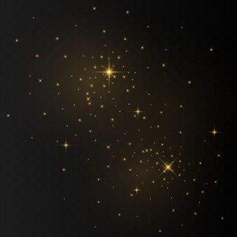 Les étincelles de poussière et les étoiles dorées brillent d'une lumière spéciale. scintille sur un fond transparent. des particules de poussière magiques étincelantes.