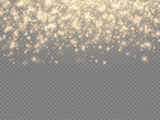Étincelles de poussière jaune, brillance des étoiles avec une lumière spéciale, effet de lumière scintillante de noël, éclat