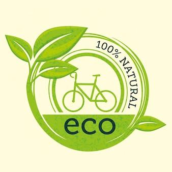 Étiquette 100% naturelle avec feuilles et bicyclette sur fond beige. illustration vectorielle,