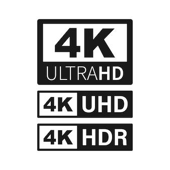 Étiquette 4k ultra hd. haute technologie. écran de télévision led. illustration vectorielle