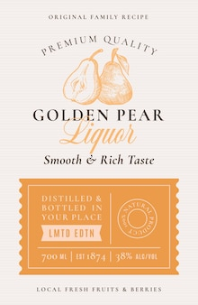 Étiquette d'alcool de liqueur de poire de recette de famille. disposition d'emballage abstraite.