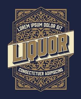 Étiquette d'alcool vintage rétro