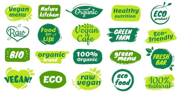 Étiquette d'aliments biologiques insigne de produit biologique naturel logo de menu végétalien brut barre fraîche autocollants d'aliments sains