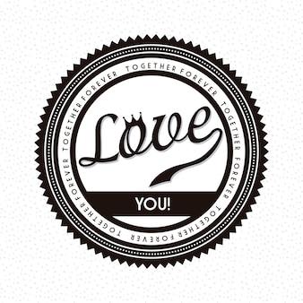 Étiquette d'amour sur l'illustration vectorielle fond blanc