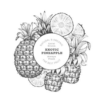 Étiquette d'ananas de style croquis dessinés à la main
