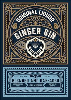 Étiquette ancienne avec design de liqueur de gin