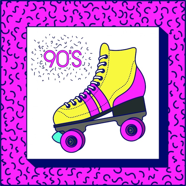 étiquette des années 90 avec skate rétro