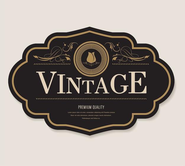 Étiquette antique et bordure de cadre style rétro bannière vintage.