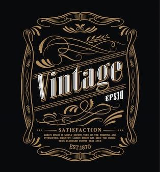 Étiquette antique cadre occidental dessiné à la main tableau noir typographie frontière illustration vintage