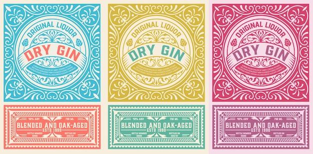 Étiquette antique avec liqueur de gin