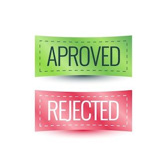 Étiquette aprove, conception d'étiquette rejetée