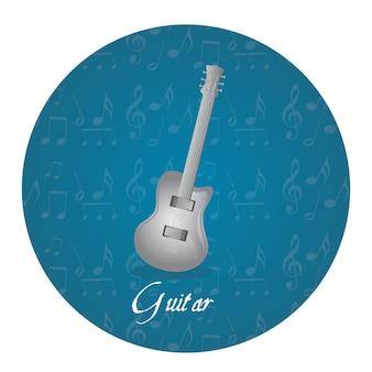 Étiquette argentée guitare sur cercle