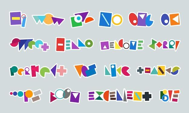 Étiquette d'autocollant abstrait de message pour le chat de réseau de médias sociaux graphique de mots de forme colorée simple