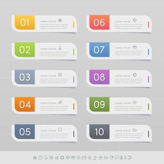 Étiquette autocollant avec des icônes de l'entreprise définie
