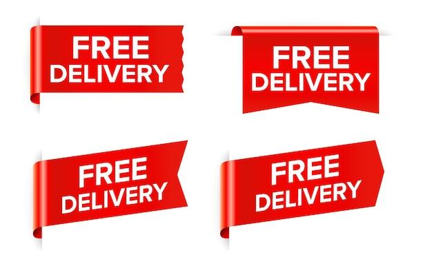 Étiquette d'autocollant rouge de livraison gratuite isolée sur blanc