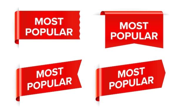 Étiquette d'autocollant rouge la plus populaire isolée sur blanc