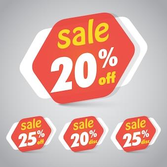 Étiquette d'autocollant de vente pour la conception d'élément de détail de vente avec 20% 25% de réduction.