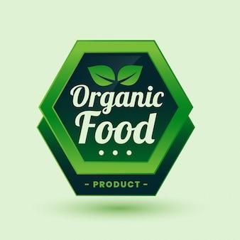 Étiquette ou autocollant vert d'aliments biologiques