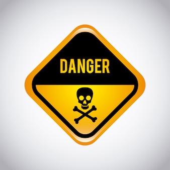 Étiquette d'avertissement sur fond gris