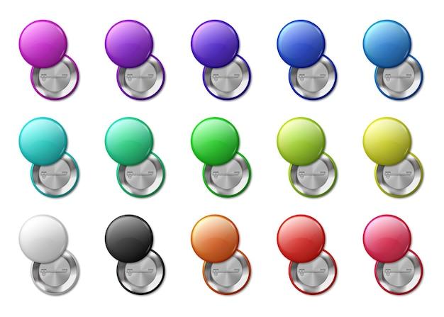 Étiquette de badges épinglés ronde. badge cercle aimant 3d, simple brillant.