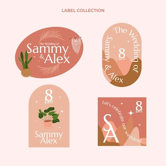 Étiquette et badges de mariage dessinés à la main