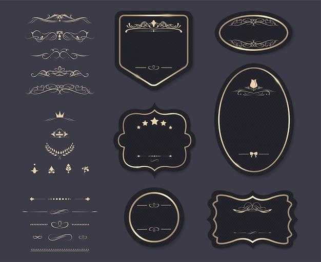 étiquette de bannière élément vintage et décoration.