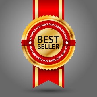 Étiquette best seller premium dorée et rouge