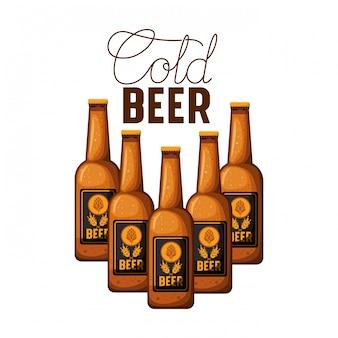 Étiquette de bière froide avec l'icône de la bouteille