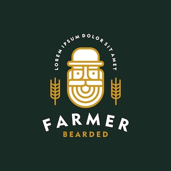 Étiquette de bière, logo de la bière. ancien style vintage d'emblème de brasserie barbu fermier.