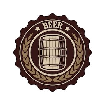Étiquette de bière vintage avec tonneau en bois