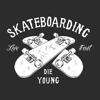 Étiquette blanche de skateboard vintage