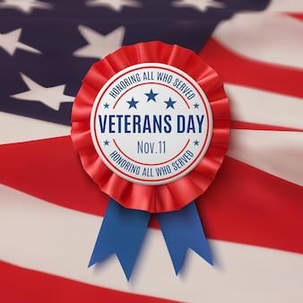 Étiquette bleue et rouge avec ruban sur fond de drapeau américain. affiche