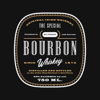 Étiquette de boisson d'alcool occidental vintage, tableau noir de modèle d'étiquette de bourbon whisky