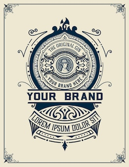 Étiquette de boisson alcoolisée design vintage rétro. gin, whisky ou autres produits