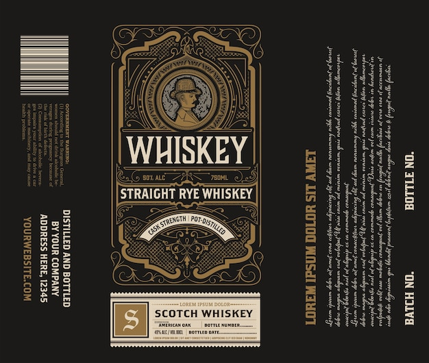 Étiquette de boisson alcoolisée design vintage rétro