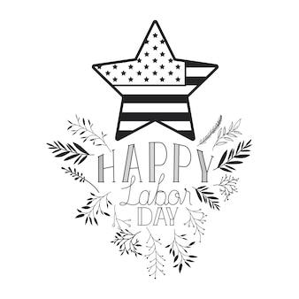 Étiquette de bonne fête du travail avec cadre de feuilles et étoile