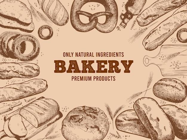 Étiquette de boulangerie avec cadre