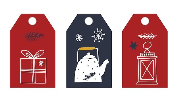 Étiquette de cadeau de noël dans le style scandi étiquette de style doodle
