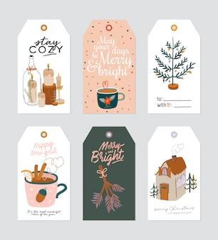 Étiquette-cadeau de noël avec illustration mignonne hygge et souhaits de lettrage de vacances. modèles de cartes dessinées à la main imprimables. étiquettes saisonnières. . ensemble