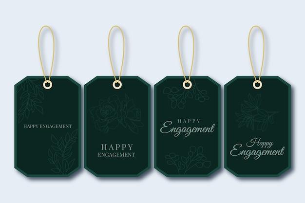 Étiquette-cadeau vert joyeux fiançailles monochrome